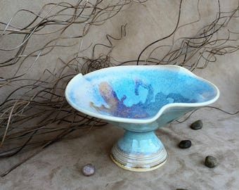 Blue Variegated Pedestal Bowl