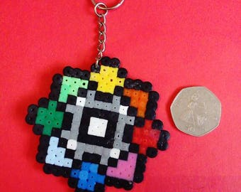 Rainbow pokemon gym badge keyring
