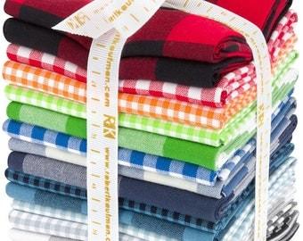 Carolina Gingham  from Robert Kaufman cotton fabric, 16 piece fat quarter bundle in gingham checks, traditional palette