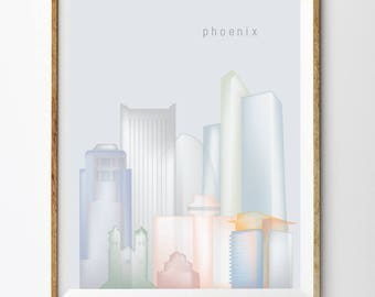 Phoenix, Printable Phoenix Skyline Phoenix Wall Art (#P504)