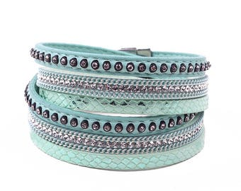 Leather Double Wrap Crystal Cuff Bracelet Green