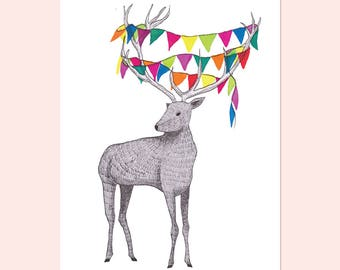 Party Animal Deer congratulations greeting card. Illustrative stationery, congrats greetings card, happy birthday