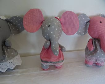 fabric elephant gray and pink