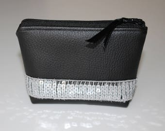 Wallet / leather card holder black silver glitter band