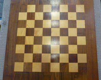 """Large vintage Drueke #65 Walnut Maple Double Sided Chess or Checkers Board 1940s/1950s 2.5"""" squares"""