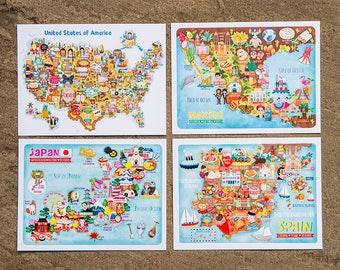 Set of 7 Map Illustration Postcard Mini Prints