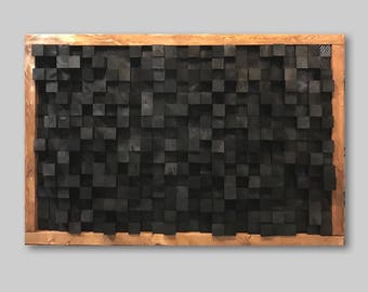 Reclaimed Wood, Sound Diffuser, Acoustic Panel, SoundProofing, Proof, Pixel, art, Black wood art, 3d art, wooden hanging wall art new studio