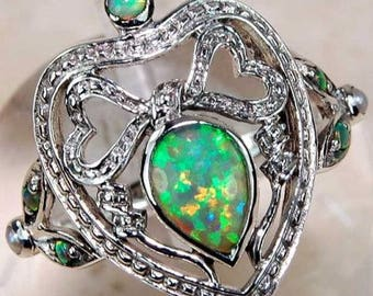 1CT Australian Opal .925 Solid Sterling Silver Victorian Style U.S. Ring SIze 6