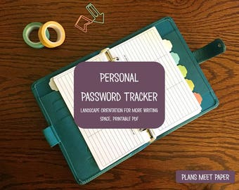 PRINTABLE Password Tracker- Landscape Orientation for More Writing Space
