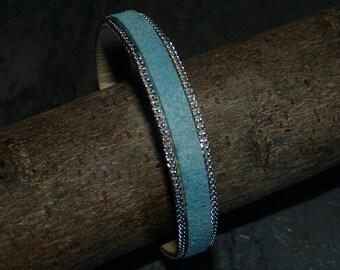 Blue leather chain Cuff Bracelet