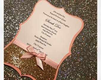Hayden Die-Cut Light Pink and Gold Glitter Invitation