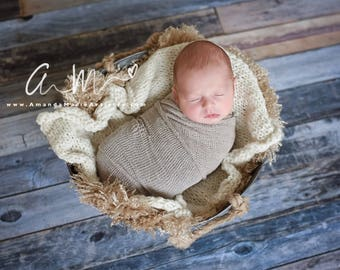 Newborn Wrap, Taupe Delicate Knit~Newborn Photography Prop