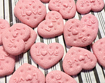 Pink kawaii heart cookie cabochons