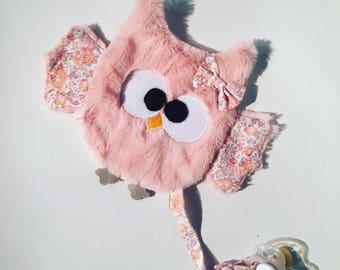 Blanket pacifier OWL / OWL / owl / owls / OWL in pink minky soft and liberty. French manufacturing
