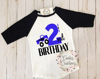 Second Birthday Shirt//kids raglan shirt//two toddler raglan//monster truck shirts//kids birthday gifts//