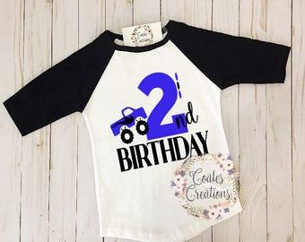 Second Birthday Shirt//kids raglan shirt//two toddler raglan//monster truck shirts//kids birthday gifts//