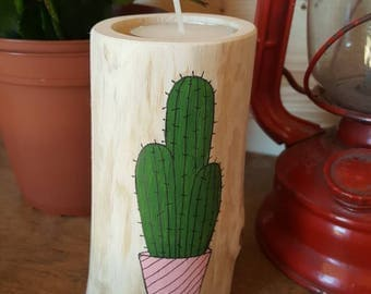 Chandelier painted cactus by hand, Les Loleries, Cactus, home, candlestick, candle deco