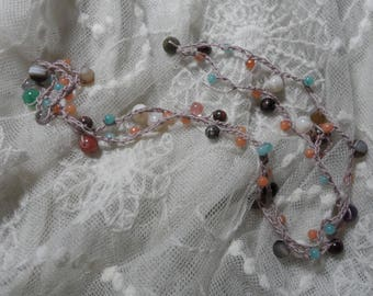 Crocheted Multi gemstone Necklace
