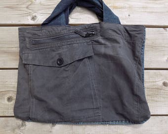 "Sac à main coton, denim recyclé, ""DjéDjé pocket"""