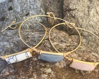 Stone bangle bracelet