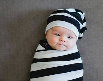 Black and White Stripe Stretchy Knit Swaddle Blanket