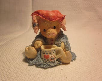 Vintage Enesco This Little Piggy Stayed Home figurine, 1994 retired, Enesco This Little Piggy collection