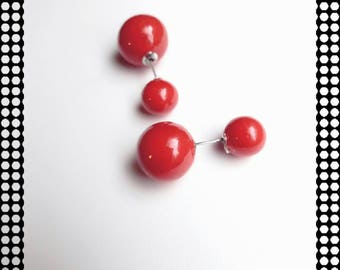 Original earrings double red balls, beads made by hand