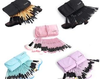 32 Pcs Vander Muticolor Fashion Pro Eyebrow Shadow Soft Makeup Brush Set Kit + Pouch Bag (US ONLY)
