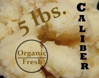 5 lbs. Organic Ghana Shea Butter, Virgin Unrefined - Fair Trade: Vacuum Sealed Package - AAA High Grade Quality