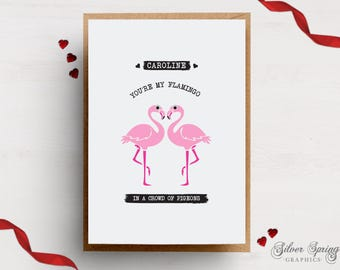 A6 Card - Personalised Valentines Flamingo