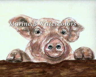 Watercolor Pig Art Print 8 x 10 in