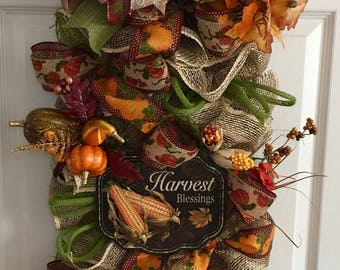 Harvest Blessings Fall Swag/Autumn Swag/Front Porch Decor/Fall Deco Autumn Decor/Front Door Wreath