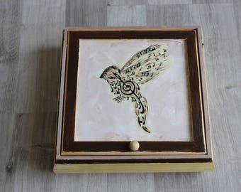 Bird jewelry box hand painted music