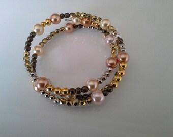 memory Wire Bracelet silver gold tone