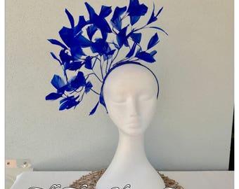Ladies royal blue feather headband fascinator