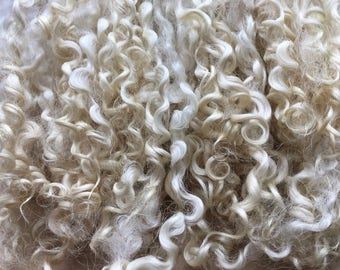Wensleydale wool locks washed undyed white 30g