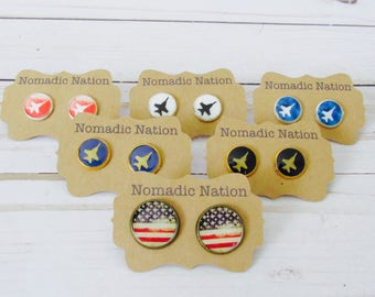 Jet Studs- Jet Earrings- Aviation Gift- Aviation Earrings- Military Accessories- Airplane gift- Military Gift- Airplane Earrings