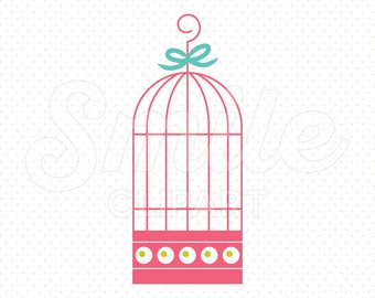 PINK BIRDCAGE Clipart Illustration for Commercial Use | 0109