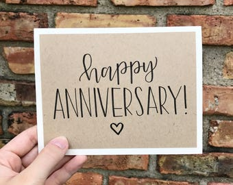Happy Anniversary Card with Small Heart - Handmade Rustic Calligraphy Card - Single Card
