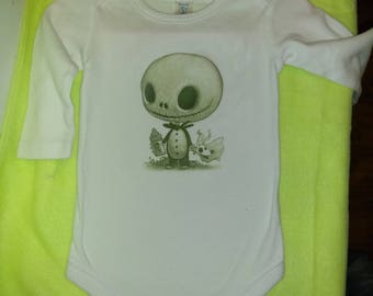 Nightmare Before Christmas Baby Jack on Long Sleeve one piece baby bodysuit