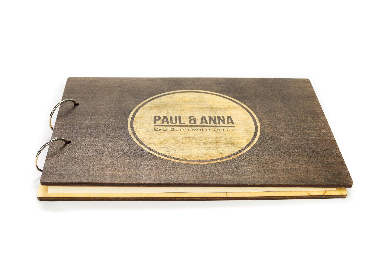 Rustic Wedding Guest Book Custom Wooden Album