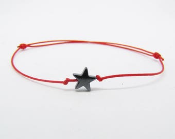 Kabbalah bracelet - red thread - hematite star - burst of Creation