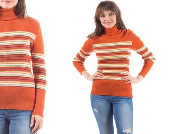 70s Sweater TURTLENECK Striped Sweater Cowl Orange White Lightweight Soft Wool Blend Vintage Stripe Fitted Retro Hipster 1980s Preppy Medium