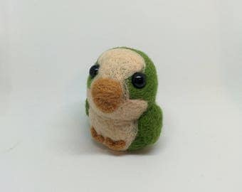 Chubby Quaker Parrot / Monk Parakeet - Green - Needle Felted Wool Plushie or Ornament - Handmade, Unique, OOAK - Free Shipping Worldwide