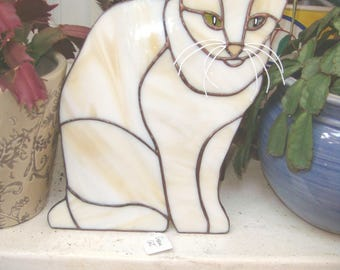 Stained glass Cream Cat