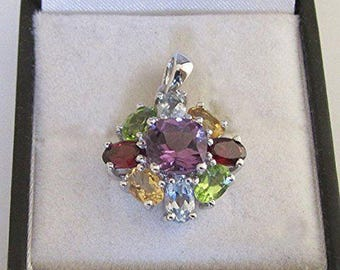 Jeweled pendant on fine silver, Amethyst, Peridot, Topaz, citrine