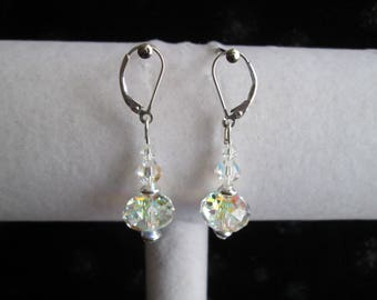 Clear AB Crystal & Sterling Silver Earrings #3