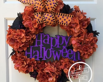 Halloween Wreath, Hydrangea Wreath, Orange Wreath, Front Door Wreath, Grapevine Wreath, Wreath Street Floral, Black Wreath, Door Wreath