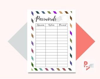 PASSWORD TRACKER Happy Planner Printable Insert, Create 365, Happy Planner Inserts, Happy Planner Classic, MAMBI Planner, Instant Download
