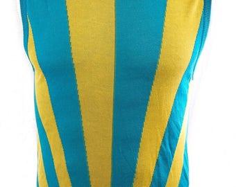 100% Authentic Vintage VERSUS Versace Bold Multicolor Crew Neck Sleeveless Top